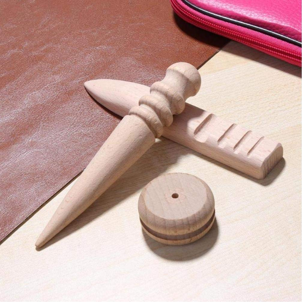 Oulensy Craft Rotonda 3pcs Set di Cuoio di DIY//a di Legno Bordo Slicker Burnisher per Cuoio Leather Cutting Edge lucidatura Utensili