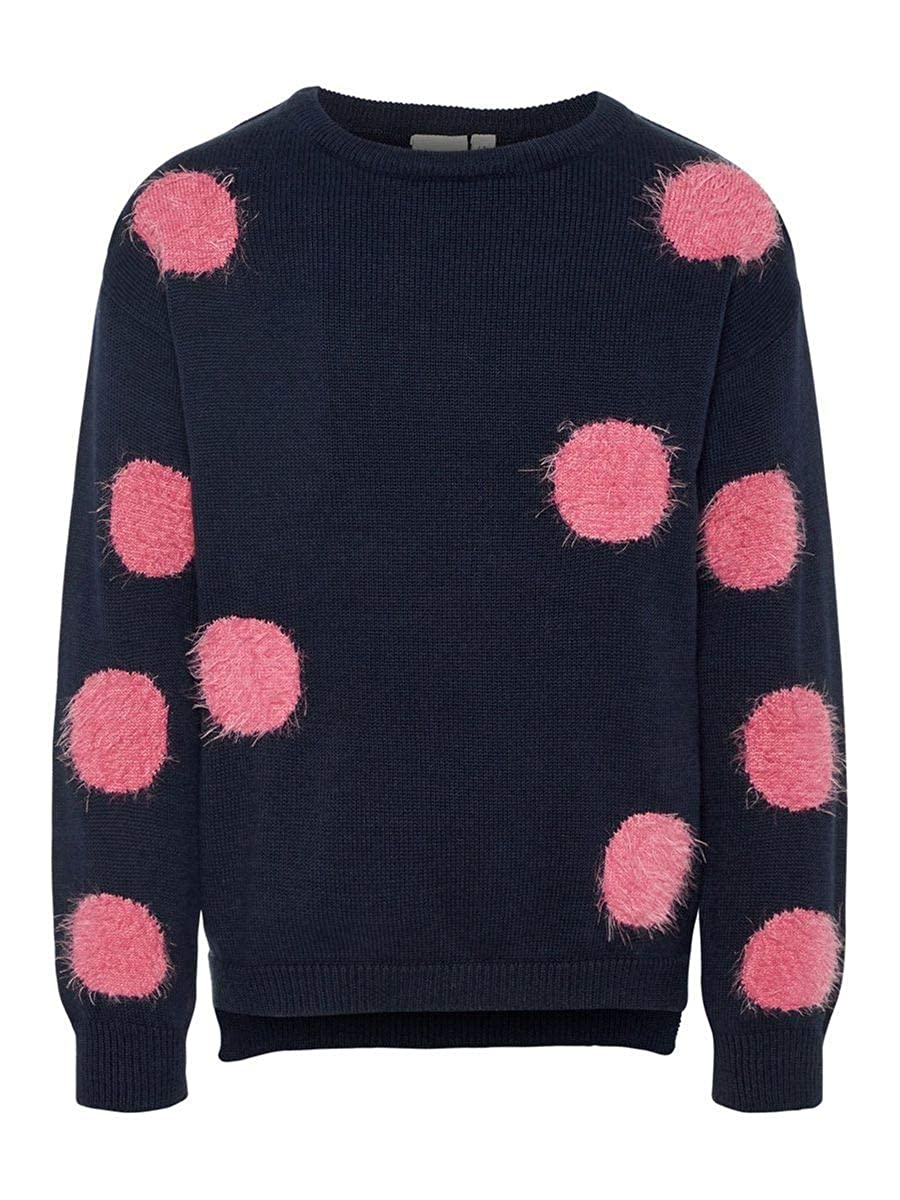 NAME IT Kids Mädchen Strickpullover, Pullover OLATTI mit Punkten in dunkelblau