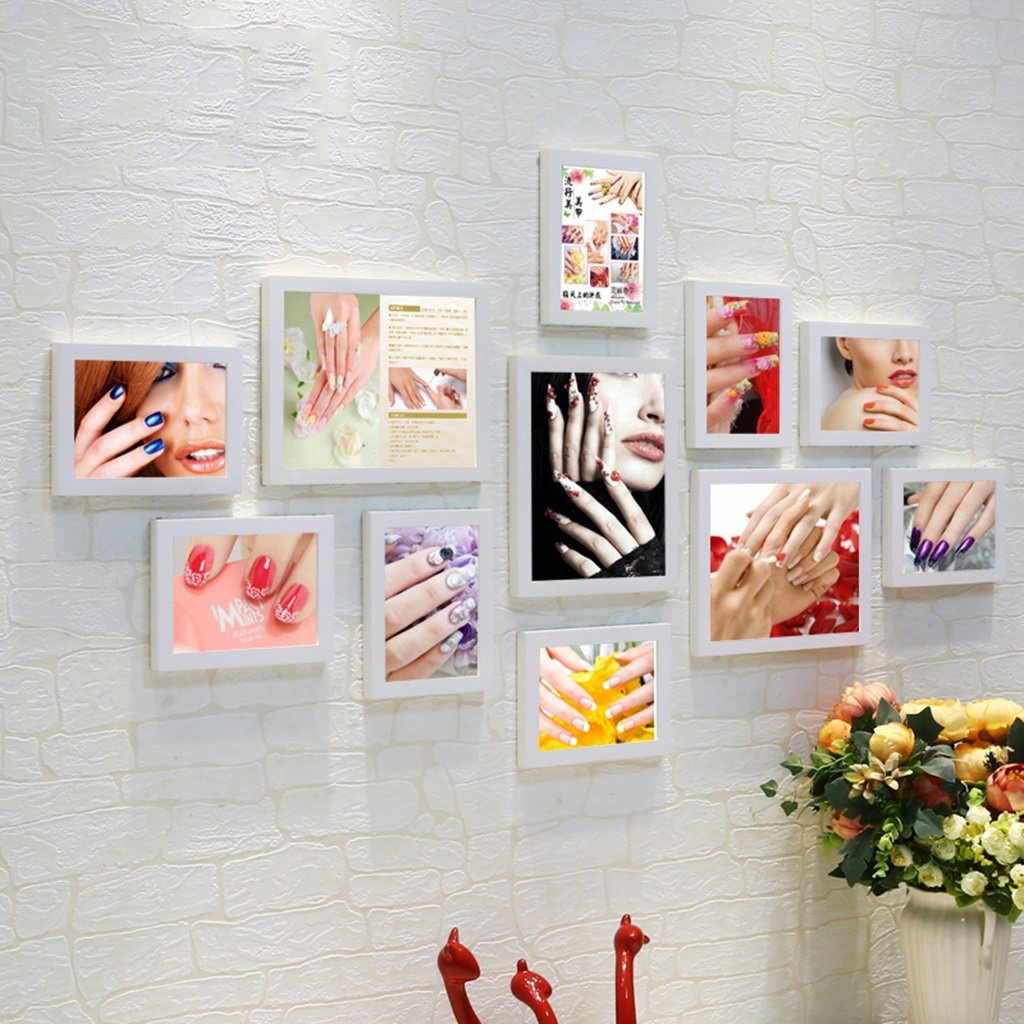 ZGP Home@Wall photo frame Nail Wood Photo Wall Club Mural Beauty Salon Cosmetics Shop Background Wall Decoration Frame Wall Paintings (Color : B)