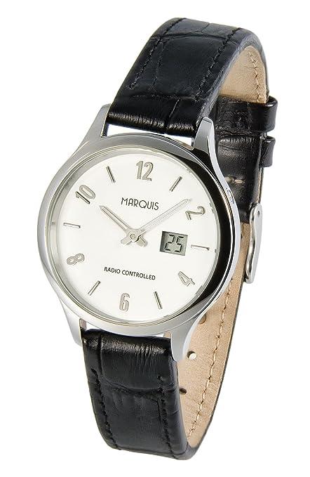 Elegante Mujer Radio Reloj de pulsera con Junghans de reloj de piel, carcasa de acero