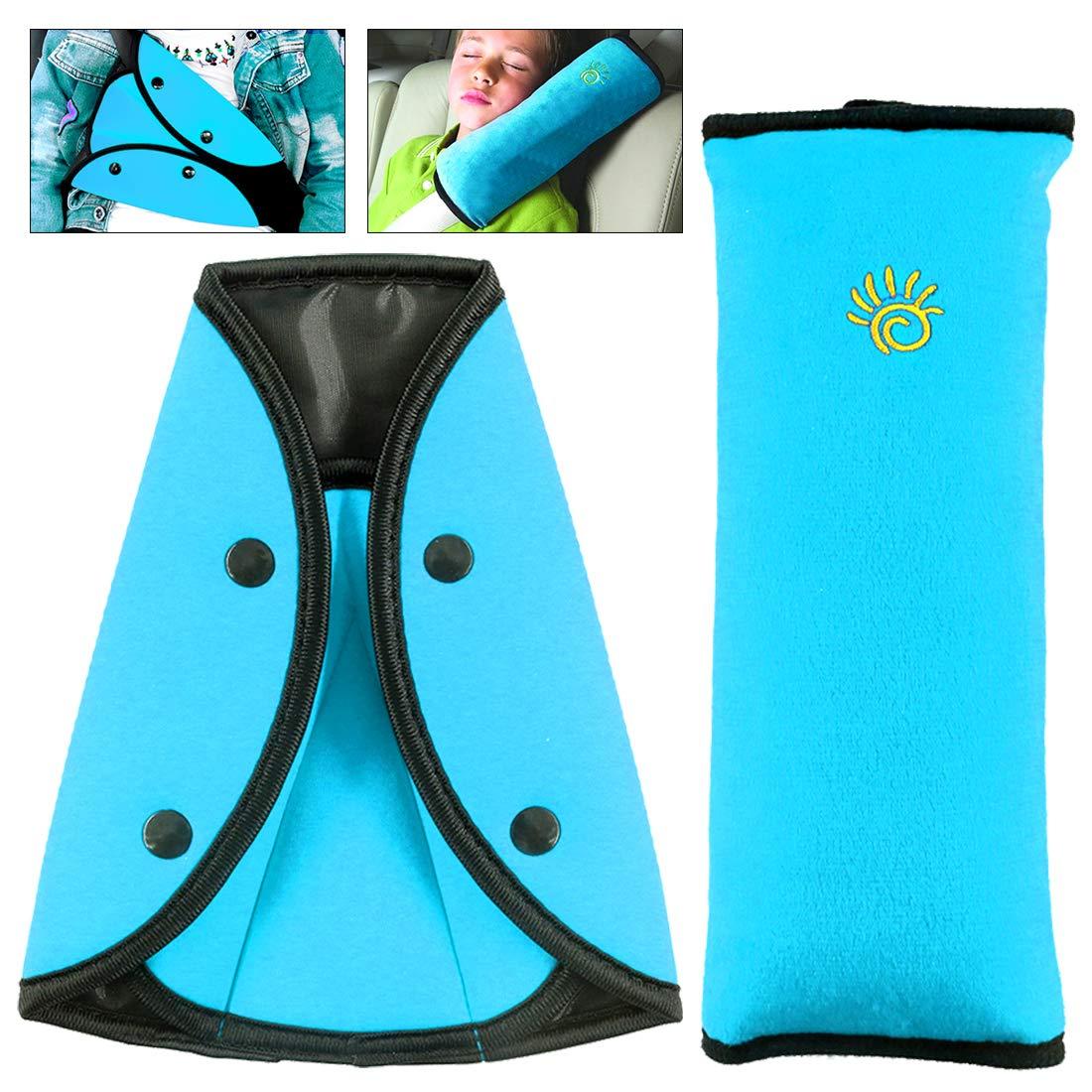 Keadic 2 - piece Seat Belt Pillow and Kids Seatbelt Adjuster Set, Soft Neck Support Headrest Seatbelt Pillow Cover and Seat Belt Adjuster for kids Toddlers Boys Girls Adults (Blue) by Keadic