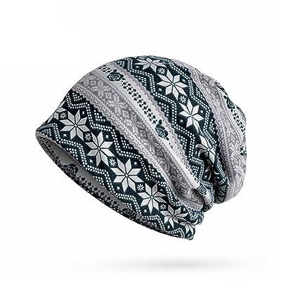 TININNA 1Pcs Mode Multifonction Beanie Slouch Motif Flocon de Neige Chapeau Bonnet et Écharpe de Cercle Cache-Col Tour de Cou pour Femme Homme Vert