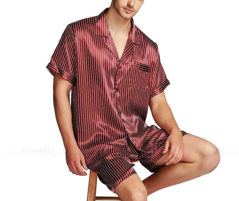 Mens Silk Satin Short Pajamas Pajama Pyjamas Set Sleepwear Set Loungewear,Navy Blue Strip,XL by Toping Fine sleepwear (Image #3)