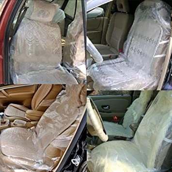 Pack Of 100 Car Auto Disposable Clear Plastic Seat Covers Vehicle Protector