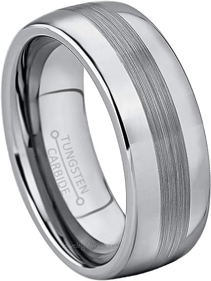 10mm Men/'s or Ladie/'s Tungsten Carbide Black Brushed Center Wedding Band Ring