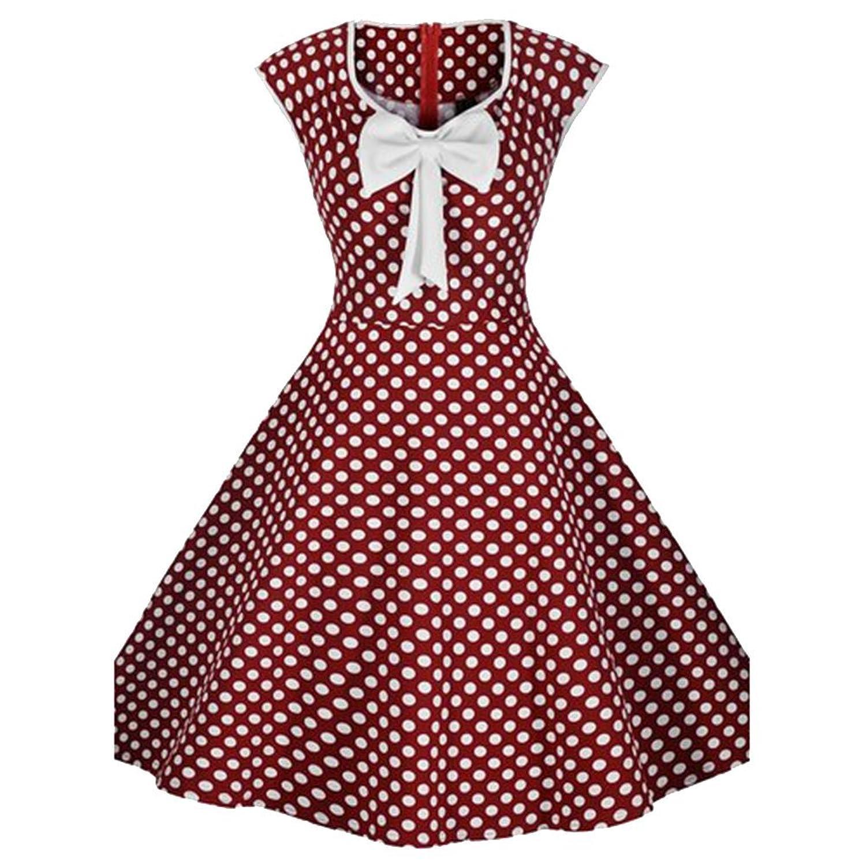 iPretty Damen elegant Faltenrock Polka Dot Rundkragen Hoher Bund Sommerkleid Retro Vintage Party Cocktailkleider Abendkleider mit Schleifen