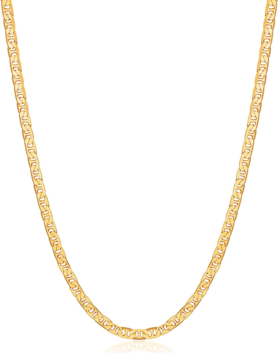 Barzel 18K Gold Plated Flat Mariner/Marina 3MM, 3.5MM, 4.5MM, 5MM, 6MM, 8MM Chain Necklace