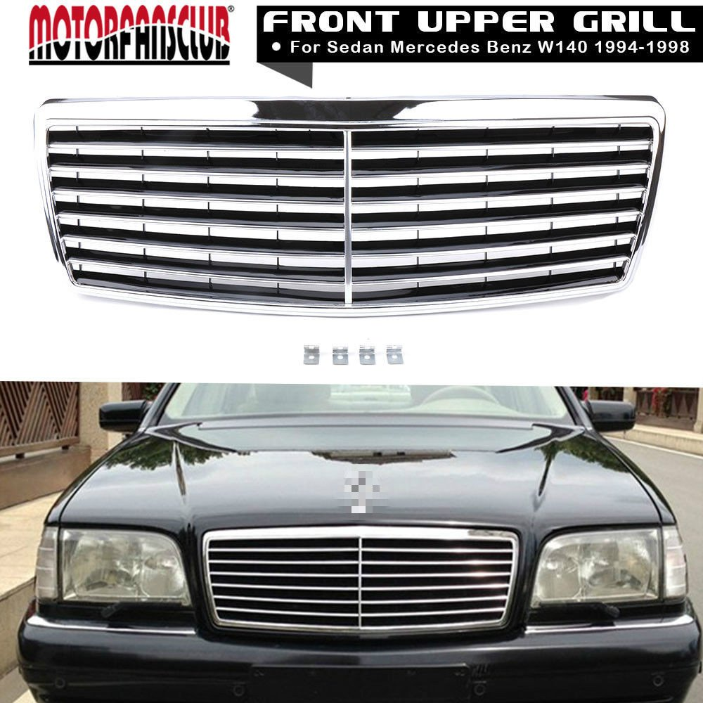 New Motorfansclub Grille Black Chrome Front Hood Bumper Grill For Details About Mercedes W140 Engine Wiring Harness Wires Updated S Benz Class 1994