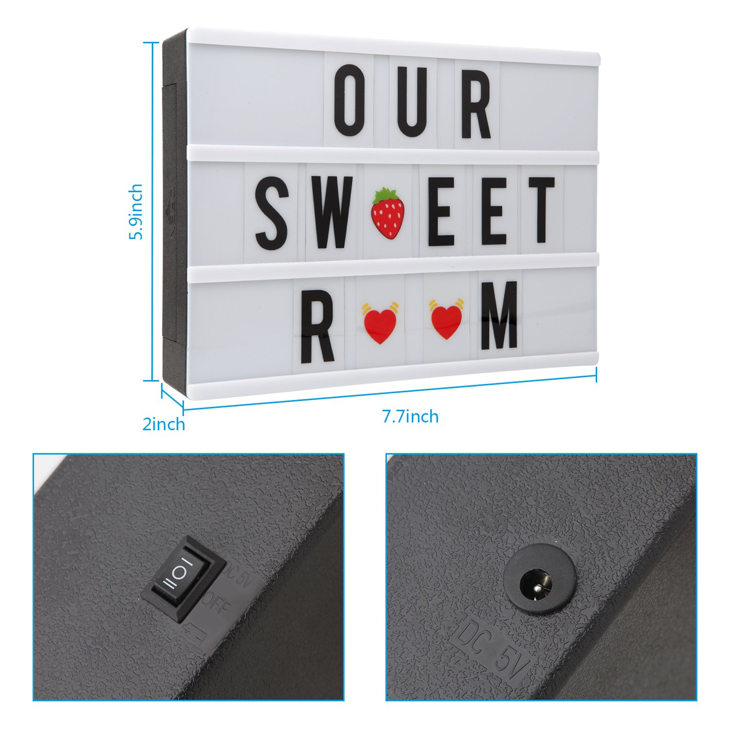 A4 7 Colours Changing Cinematic Light up Box 120 Letters NXENTC LED Message Cinema Sign Box with Wireless Remote Control