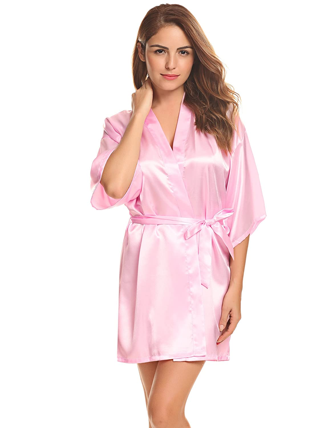 41a1c56c7a0 Women s Kimono Robes Satin Pure Colour Short Style with Oblique V-Neck Robe  at Amazon Women s Clothing store