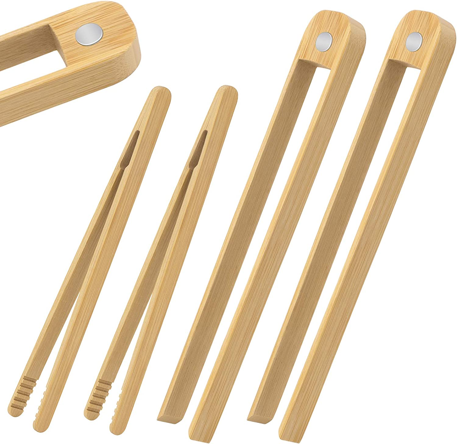 Toaster Tongs-4 Pieces, 2 Pieces 8.7-Inch wooden tongs With Magnet and 2 Pieces 7-Inch bamboo tongs for Toast Bread, Cooking