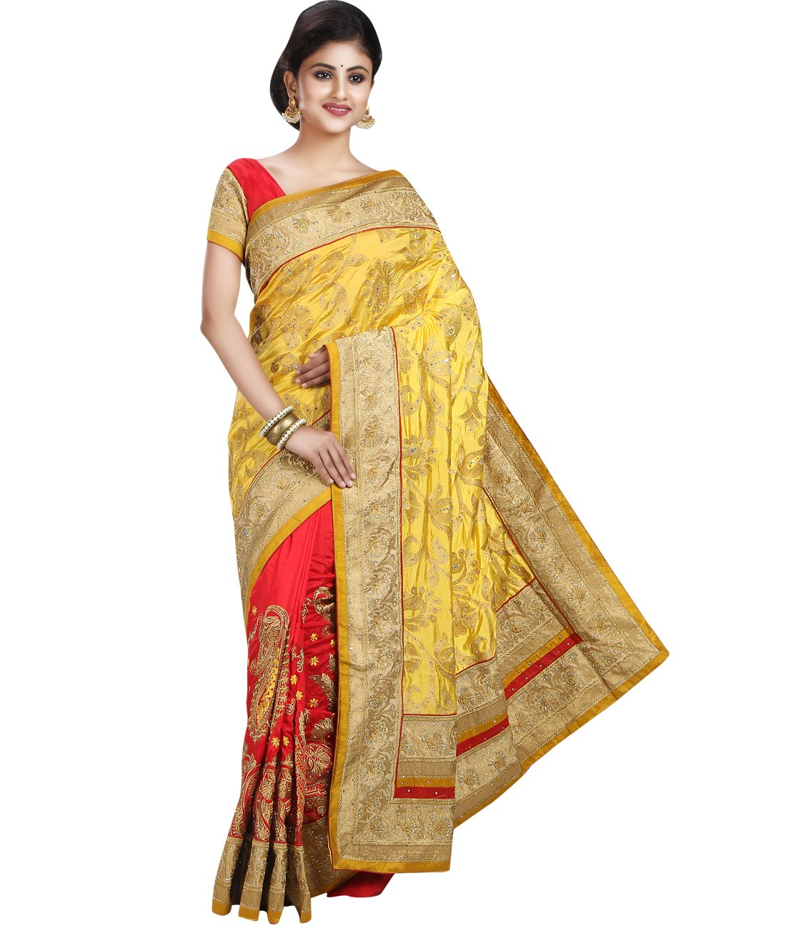 Maahir Garments Exclusive Indian Ethnicwear katha-Stitched Art Dupion Silk Red and Yellow coloured Saree