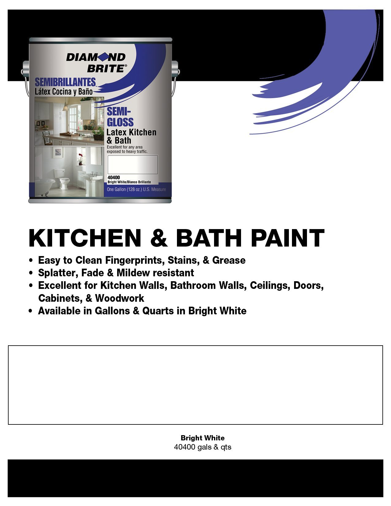 Diamond Brite Paint 40400 1-Gallon Kichen and Bath with Mildew Protection Semi Gloss Latex Paint White by Diamond Brite Paint (Image #2)