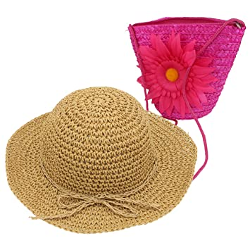 6f58f4b0e6ff Image Unavailable. Image not available for. Color  YOPINDO Girl Hat Purse  Set Straw Sun Hat Floppy Summer Beach Cap with Hand Bag (