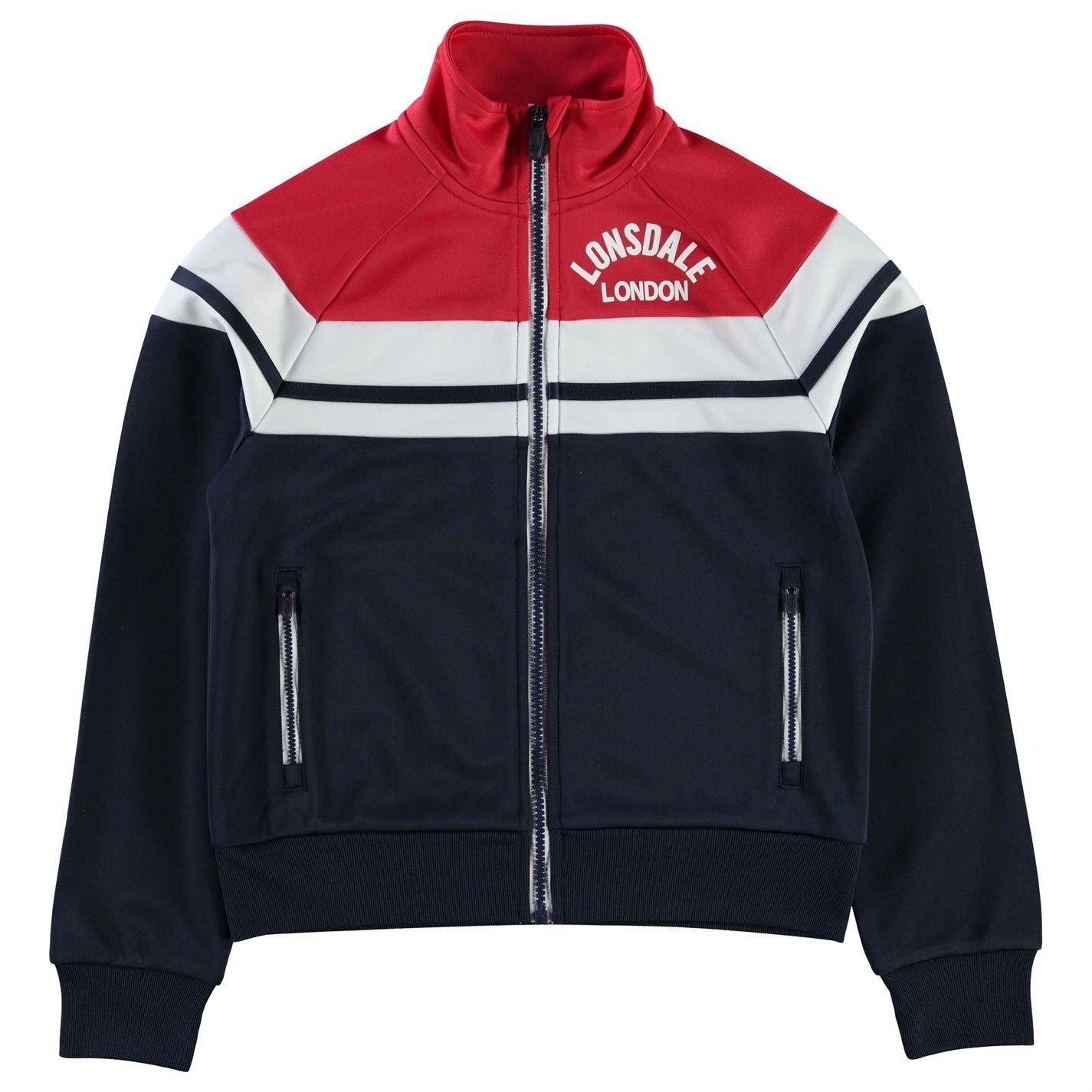 Lonsdale Kids Boys Retro Jacket Junior Tracksuit Top Coat Funnel Neck Zip Full