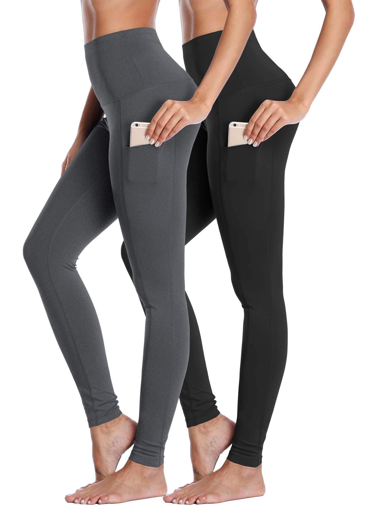 Neleus Women's 2 Pack Yoga Leggings Tummy Control Workout Yoga Pant,103,Black,Grey,S by Neleus