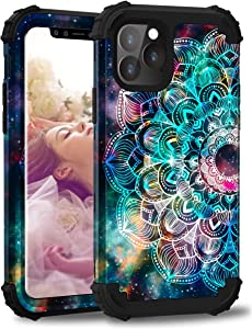 Hocase iPhone 11 Pro Case, Shockproof Heavy Duty Protection Hard Plastic+Silicone Rubber Bumper Dual Layer Protective Case with Flower Design for iPhone 11 Pro (5.8-inch) 2019 - Mandala in Galaxy