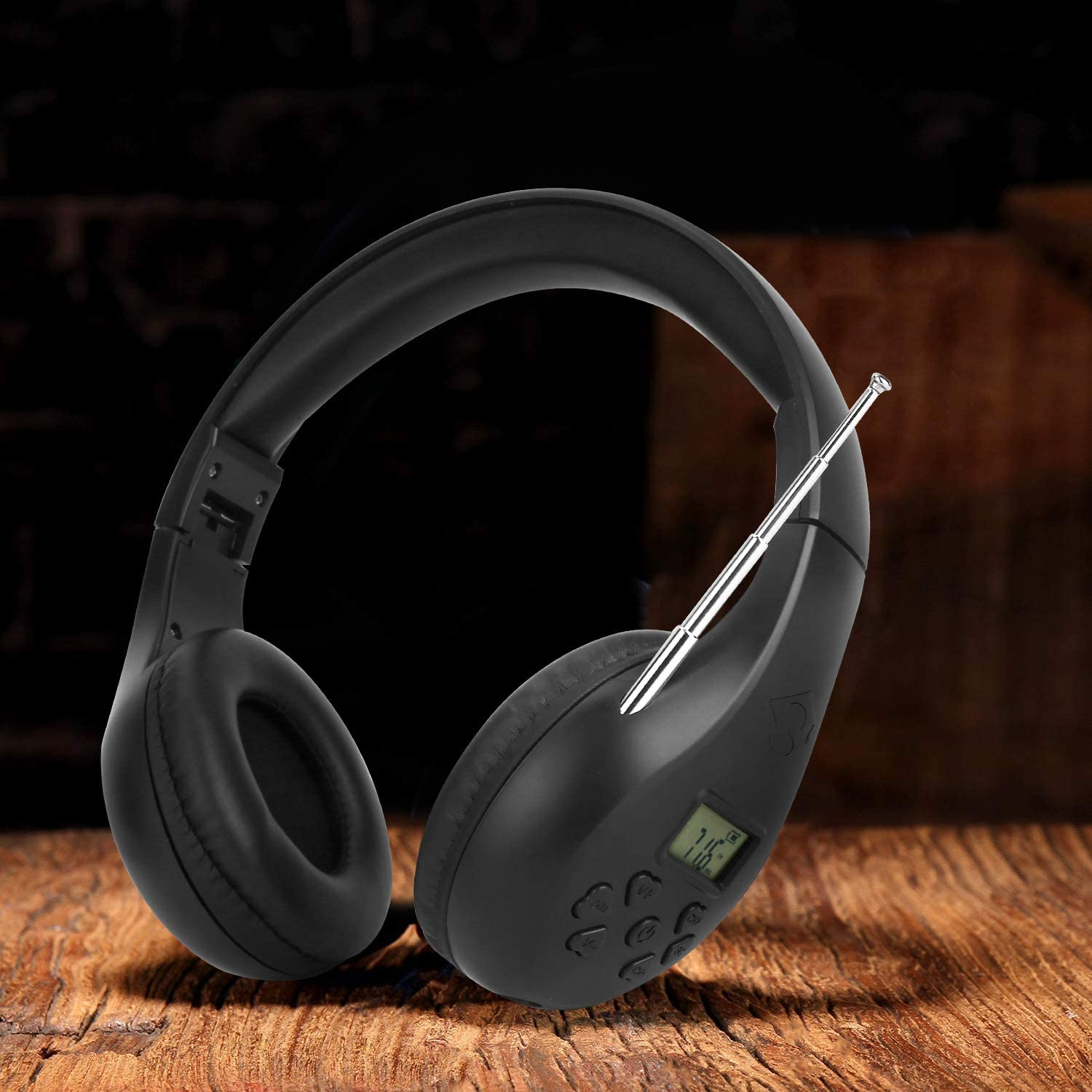 Portable Personal FM Radio Headphones with Best Reception, Walkman Wireless Headset FM Radio Ear Muffs for Walking, Jogging Powered by 2 AA Batteries(Not Included) -Black: Home Audio & Theater