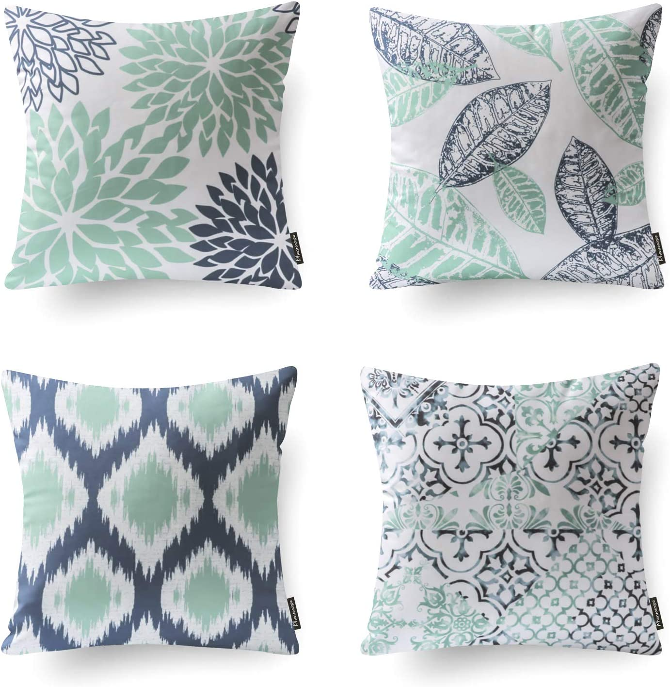 Phantoscope Set of 4 Decorative New Living Series Cyan Blue Throw Pillow Case Cushion Cover 18 x 18 inches 45 x 45 cm