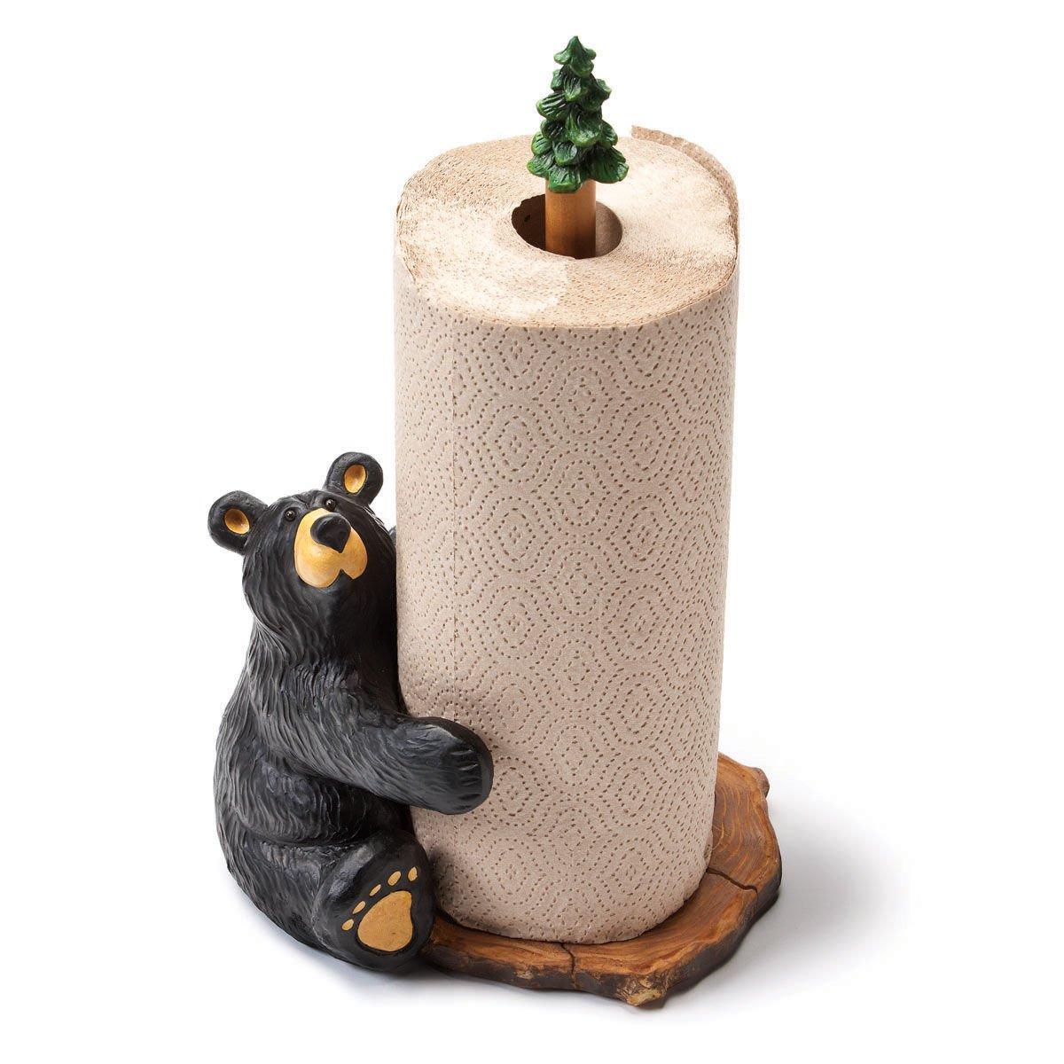 Jeff Fleming Bearfoots Brawnie Bruin Bear Hugging Paper Towel Holder Home Décor Big Sky Carvers COMINHKR073033