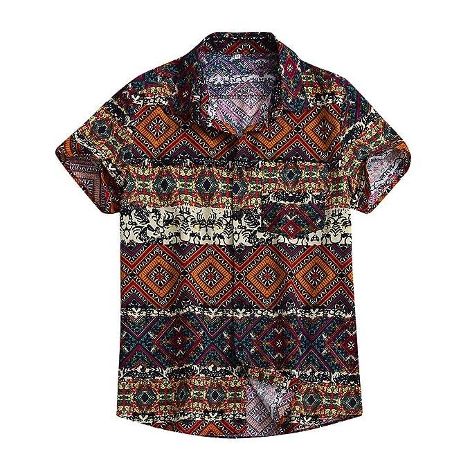 Leey Camicia Etnica Uomo Stampa Tradizionale Hippy Boho Camicia Uomo Eleganti Slim Fit Casual Manica Corta T Shirt