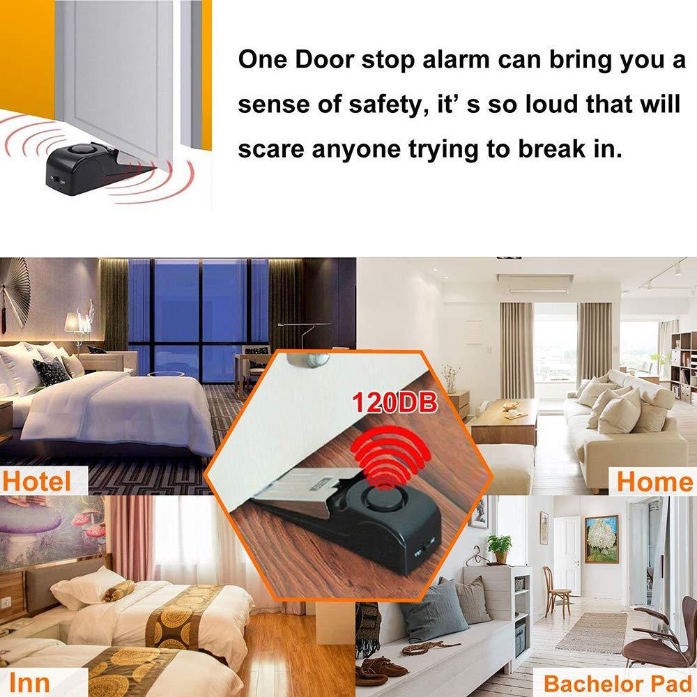 Tope de alarma para puerta con 120 dB Frontoppy Tope de puerta de goma premium Alarma de seguridad para intrusos en cu/ña de la puerta para el hogar y los viajes