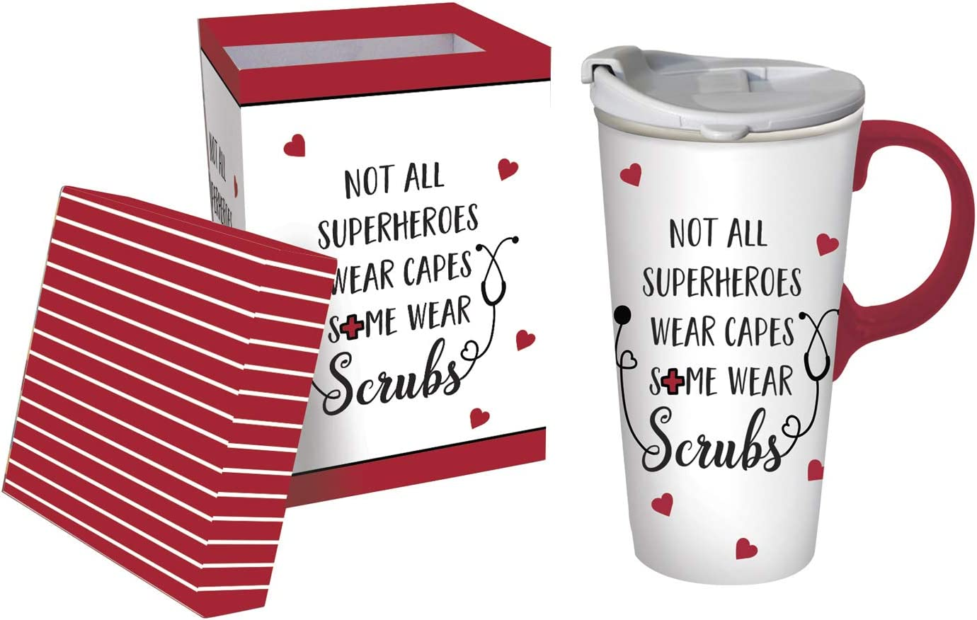 Cypress Home Ceramic Travel Cup, 17 Oz, With box, Scrubs