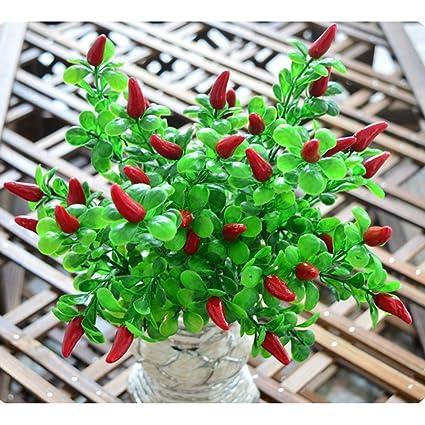 Amazon Com Leezeshaw Artificial 6 Branch Lucky Fruits Pepper Bunch