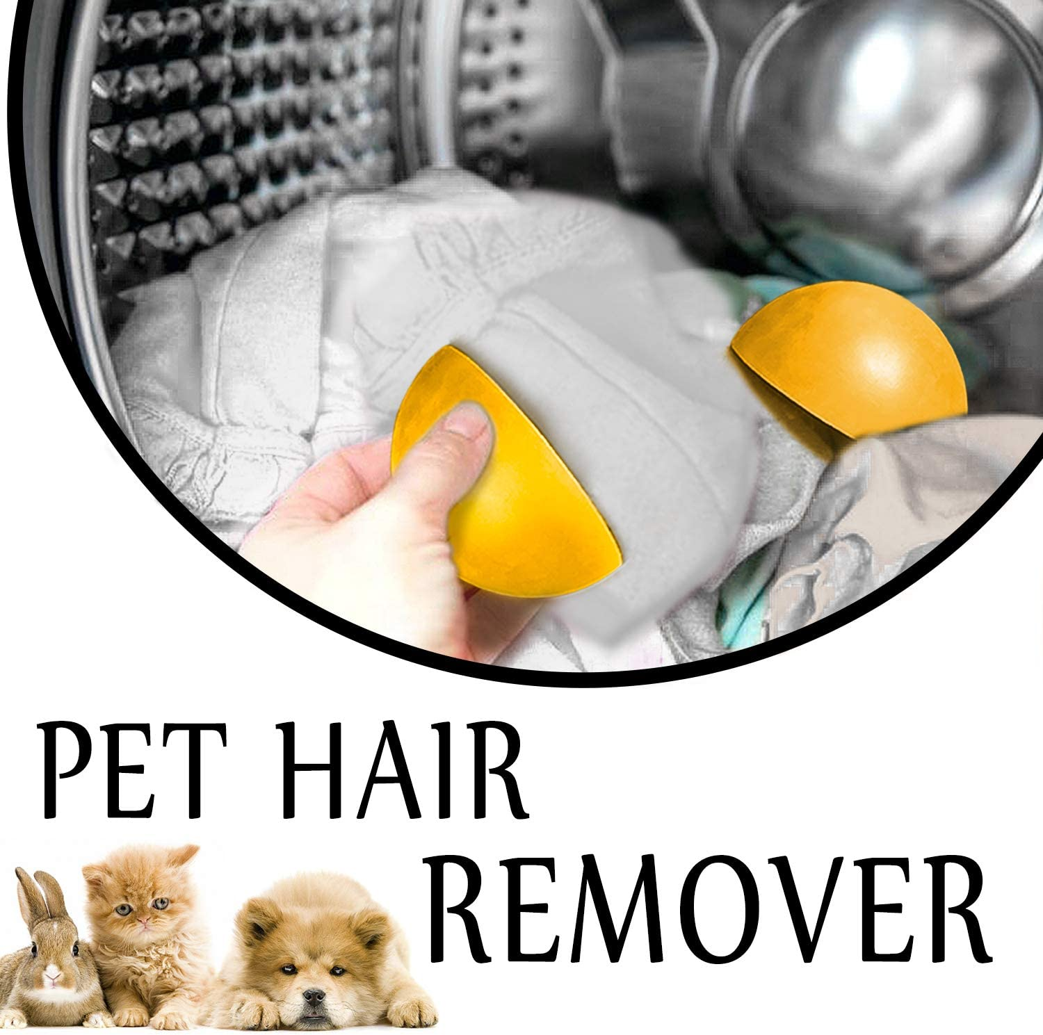 Pet Hair Remover Lint Fur Catcher Non-Toxic Reusable Removal Tool Remove Dogs and Cats Hair for Laundry Dryer, Clothes, Furniture, Carpets