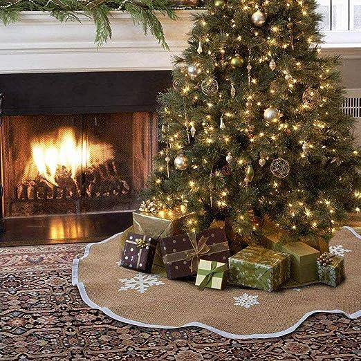 ZB Falda para árbol de Navidad, 122 cm, Falda rústica, Copo de ...