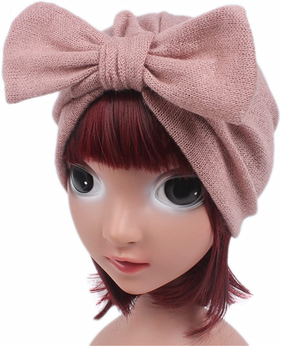 Qhome Kids Jersey Bow Turban Hats for Kids Girls Gift Kids Headcover Chemo Bandana Hijab Wool Blend Hat Indian Caps