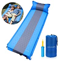 LULULION Self Inflating Sleeping Pad with Pillow - Lightweight Compact Camping Mat - Great for Outdoor Camping, Hiking, Backpacking & Traveling - Air Pump Included