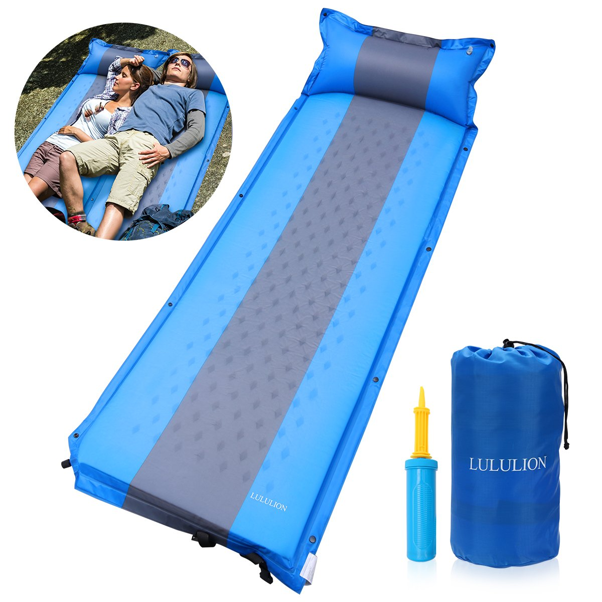 LULULION Self Inflating Sleeping Pad, Foam Camping Mat with Pillow Light Weight Camping Air Mattress for Hiking Backpacking Indoor Party- Air Pump Included