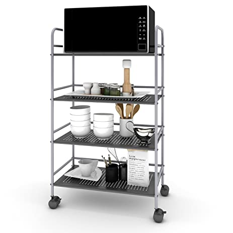 Lifewit 4 Tier Storage Rolling Cart Microwave Stand With Omnidirectional  Wheels For Kitchen / Bathroom