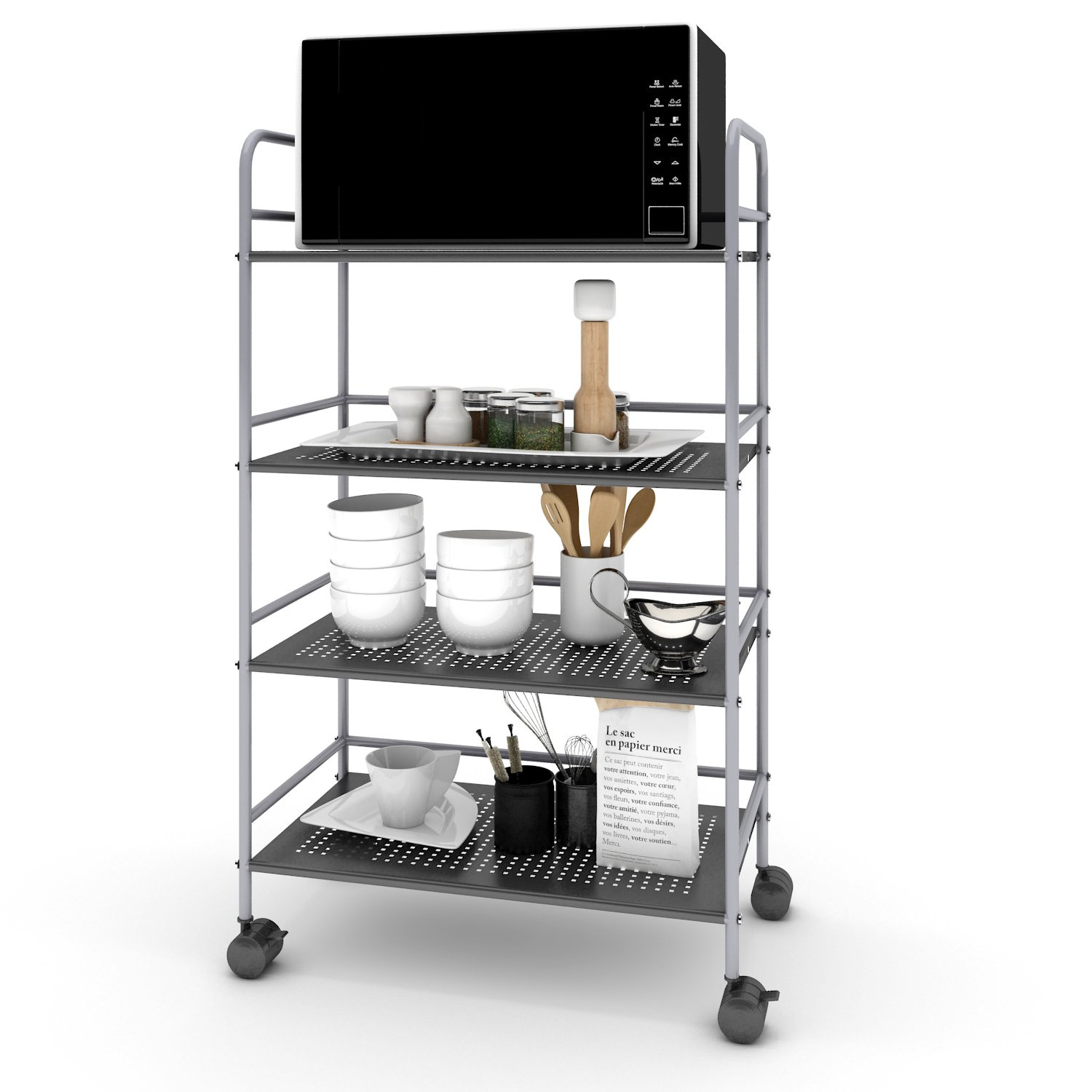 galleon lifewit 4 tier storage rolling cart microwave stand with omnidirectional wheels for. Black Bedroom Furniture Sets. Home Design Ideas