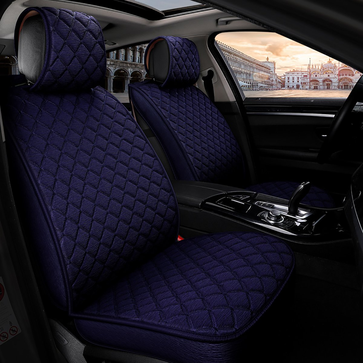 INCH EMPIRE Anti Slip Car Seat Cover Full Set Cloth Universal Fit Front and Back Breathable Dirty Proof Fabric Cushion-Adjustable Bench for 95% Types of 5 Seats Cars(Blue with Stich Grid)
