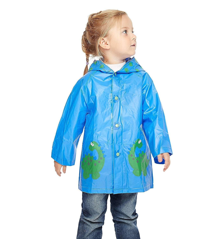 Superora Kids Rainwear Children PVC Waterproof Raincoat Hooded Poncho Button Down XT-23/LC