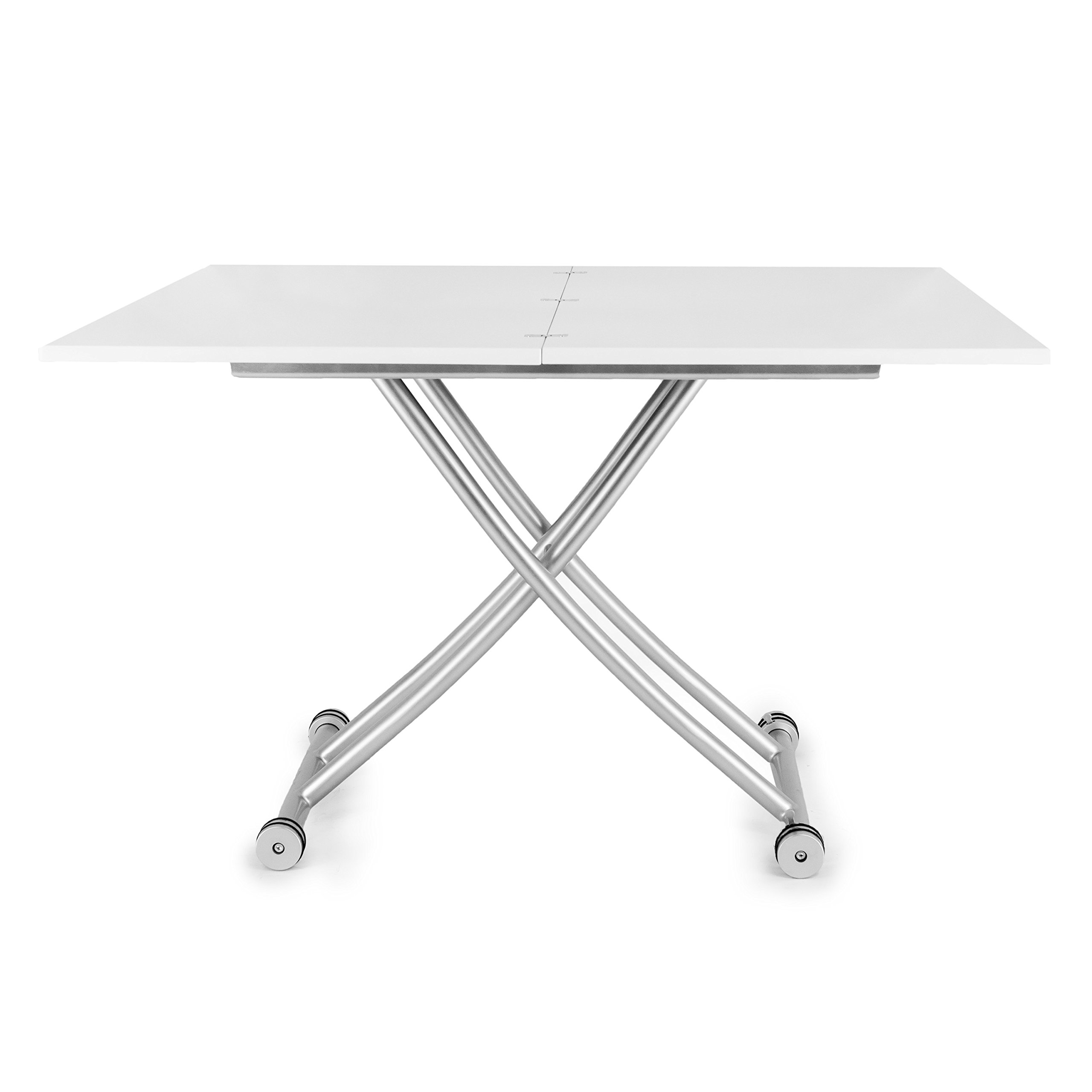 Corner Housewares Modern Multi-Purpose Dining Room Wheeled Transforming Adjustable Expanding X Lift Coffee and Dining Table, White Finish by SpaceMaster