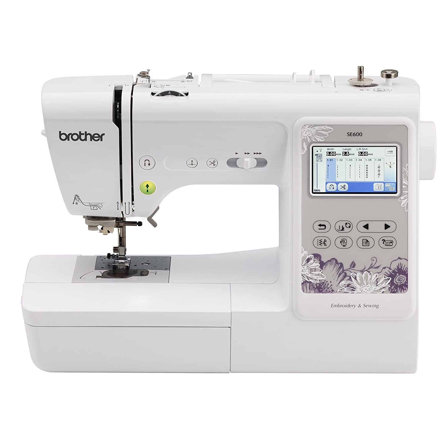 "Amazon.com: Brother Sewing Machine, SE600, Computerized Sewing and  Embroidery Machine with 4"" x 4"" Embroidery Area, 80 Embroidery Designs, 103  Built-In ..."