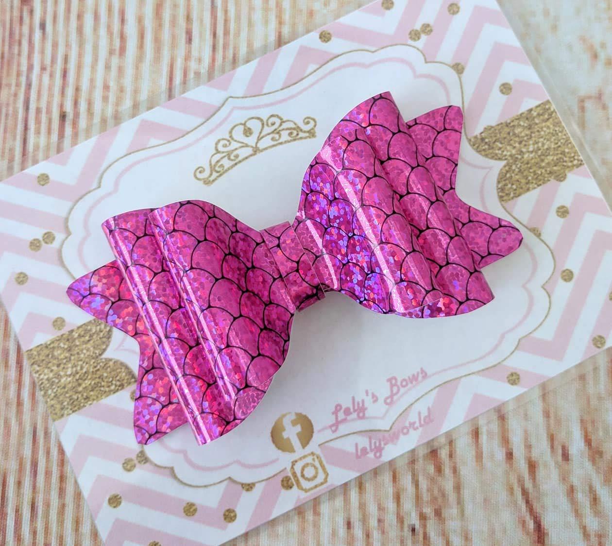 Girl Mermaid Seahorse Hearts-Hot Pink-Hair ties