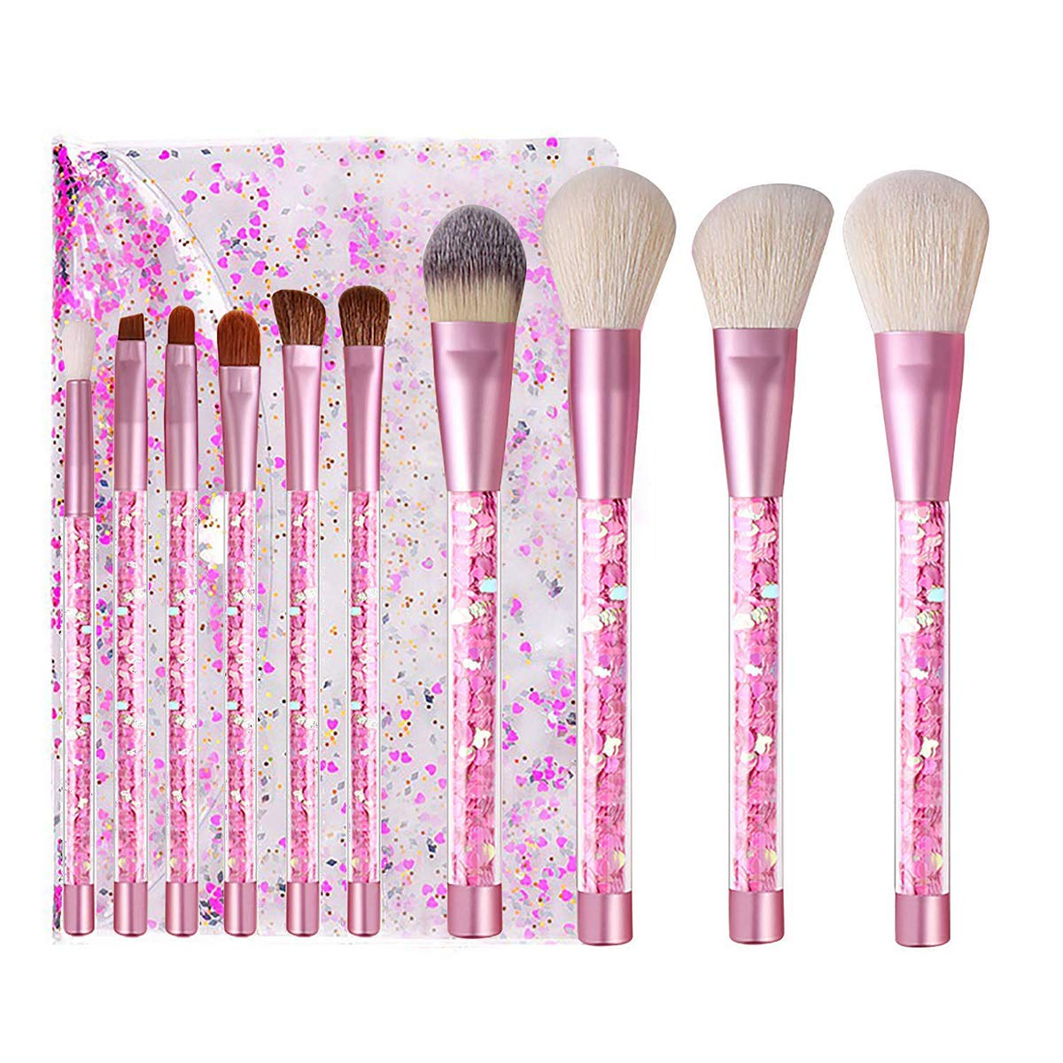 Kingtree Makeup Brushes with Clear Bag, 10PCS Pink Quicksand Sequins Handle Makeup Brush Set Professional Kabuki Foundation Blending Makeup Brush Kit