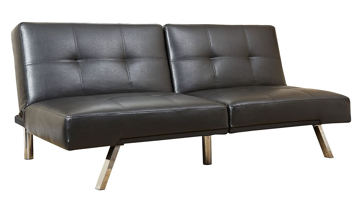 Amazon.com: Abbyson Zara Bonded Leather Convertible Sofa, Black ...