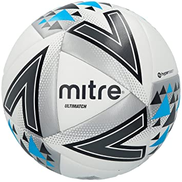 Mitre Unisex Ultimatch Match Football, White/Silver/Blue, Size 3