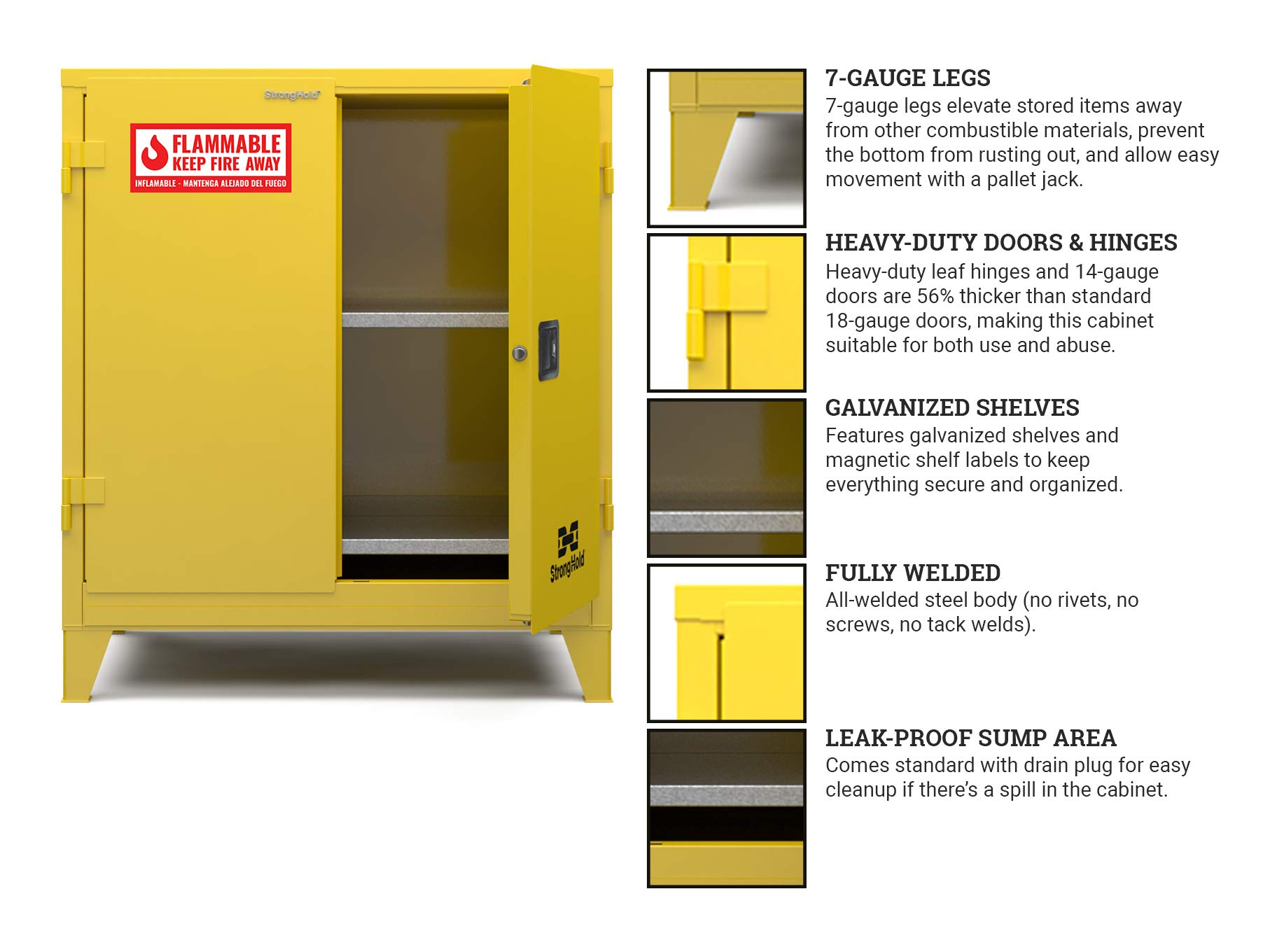 """Strong Hold-Heavy-Duty Doors and Hinges, 2 Shelves, 4 Magnetic Shelf Labels, Heavy-Duty 6"""" Legs, 15-Yr Warranty, Safety Cabinet-Flammable, 43""""W x 34""""D X 50""""H, Manual Close, 60-Gallon, NFPA, CAB000016"""