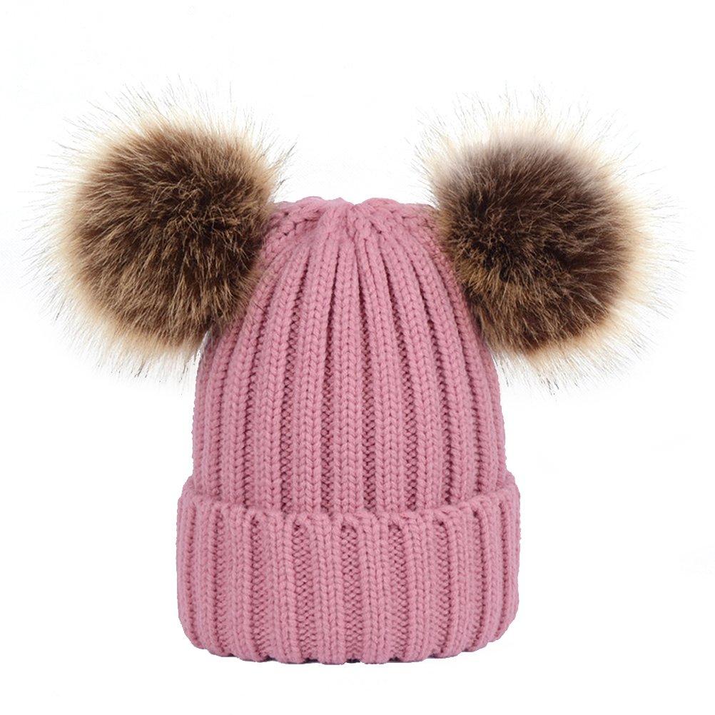 BESTOYARD Berretto da donne caldo invernale cappelli a maglia con due orecchie pon pon carino per adulti ragazze (Rosa) 40051KVFPILN9095U