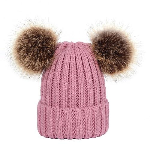 Tinksky Invierno Gorro de punto gorro Bobble Hat con doble Pom Pom Orejas Regalo de Navidad para muj...