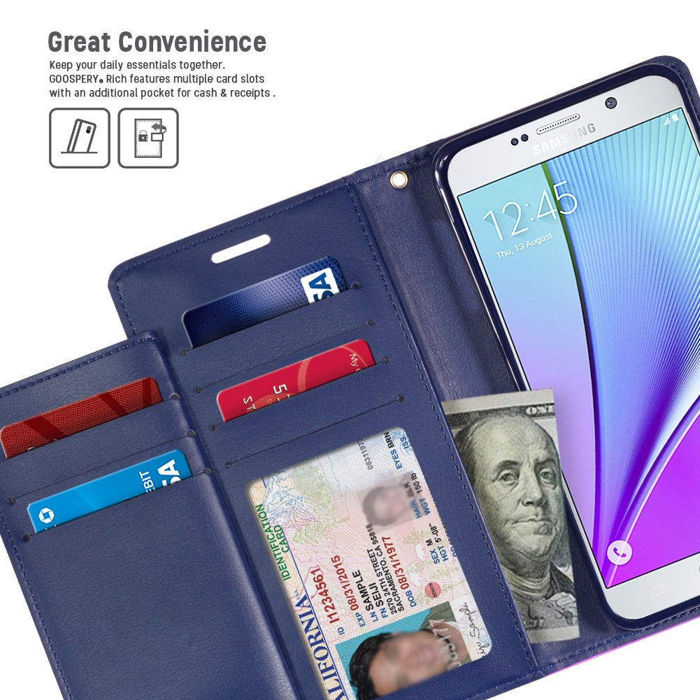 Galaxy Note 5 Case Drop Protection Goospery Rich Samsung Bravo Diary Wine Red Wallet Type Premium Soft Synthetic Leather Id Credit Card Slots Cash