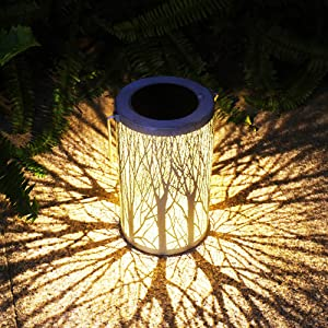 Solar Lantern Outdoor Lights Metal Hanging Garden Lantern for Patio,Courtyard, Party, Walkway,Terrace, Garden, Lawn Decorative (1 Pack) (White)