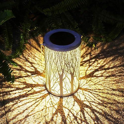 Solar Lantern Outdoor Lights Metal Hanging Garden Lantern for Patio Courtyard, Party, Walkway,Terrace, Garden, Lawn Decorative 1 Pack White