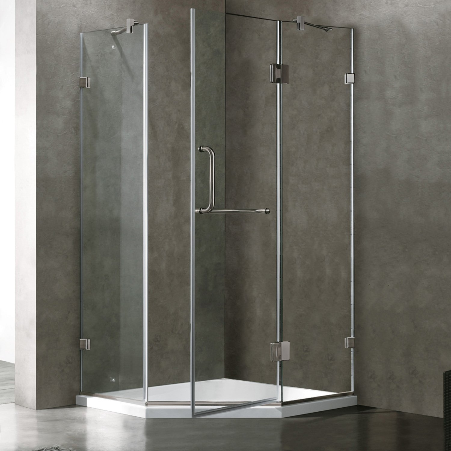 VIGO Piedmont 36 x 36-in. Frameless Neo-Angle Shower Enclosure with ...